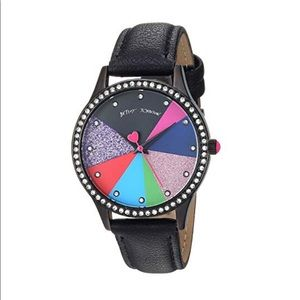 Betsey Johnson 💕Glitter Dial pie chart Watch New